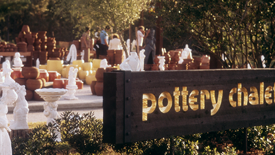 photo of outdoor pottery shopping area