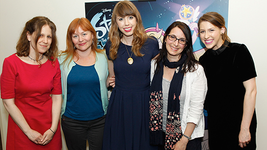group photo of five women: L—R: Maija Burnett, director of Cal Arts' Character Animation Program; Brooke Keesling, director, Animation Talent Development, Disney Television Animation (DTVA); Daron Nefcy, creator and executive producer, Star vs. The Forces of Evil; Lisa Salamone, senior vice president, Production, DTVA; and Eden Sher, who voices the role of Star Butterfly.