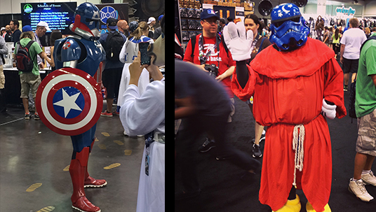 split photo showing conference goers dressed up as Captain America, Princess Leia, and various Storm Troopers