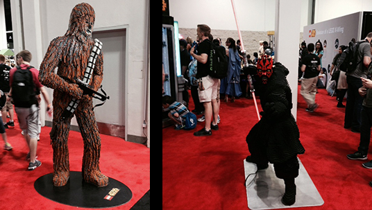 two photos of life-size figures of Chewbacca, Darth Maul from Star Wars movies on display