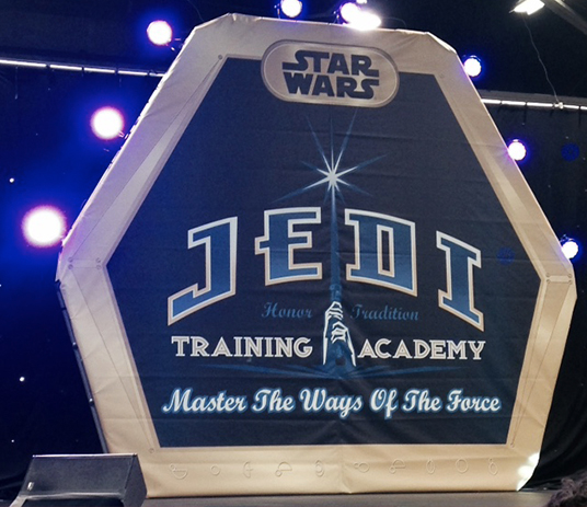 photo of sign advertising Star Wars Jedi Training Academy Master the Ways of the Force