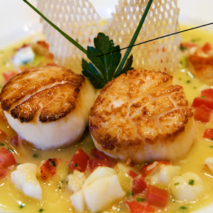 Recipe for Sautéed Sea of Cortez Rock Scallop with Sauce of Lemon, Lobster, and Vanilla