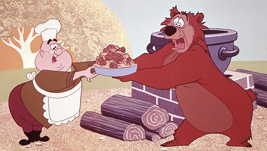 cel from cartoon In the Bag featuring ranger Ranger J. Audubon Woodlore and a friendly bear