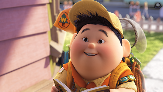 frame from animated feature Up! featuring character Russell in his Senior Wilderness Explorer outfit