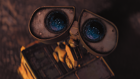 frame from the animated movie WALL•E featuring the eponymous lovable droid