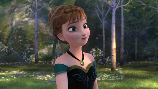 frame from the animated feature Frozen featuring Anna