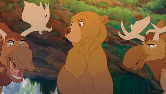 frame from animated movie Brother Bear featuring the character Kenai as a bear talking with two moose brothers