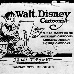 illustration of young Walt Disney in an ad for cartoonist from Kansas City Missouri