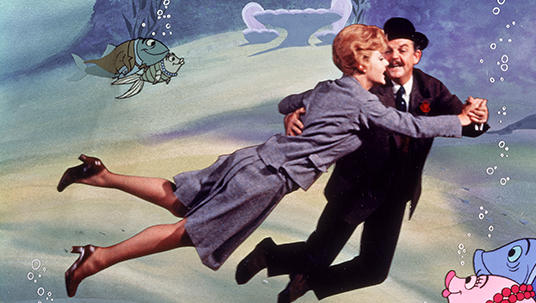 Angela Lansbury and David Tomlinson dancing in Bedknobs and Broomsticks, the 1971 Disney favorite
