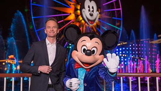 Mickey Mouse and Patrick Neil Harris at Disneyland Diamond Celebration 2015