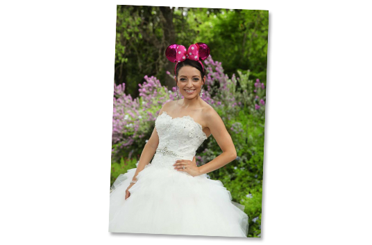 Disney Fan Bride wearing mouse ears