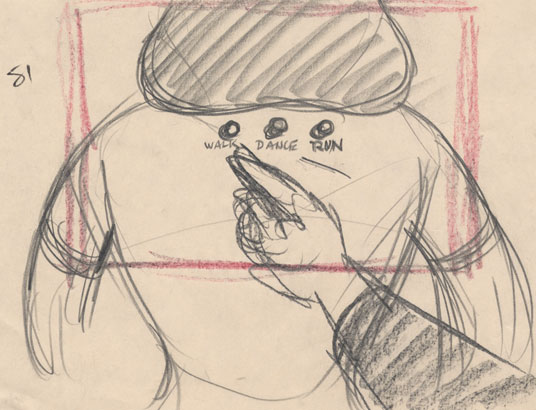 Rare storyboards show Donald's first activation of the bobby-soxer doll.