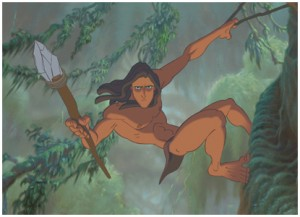 Tarzan swinging from trees in Disney film Tarzan