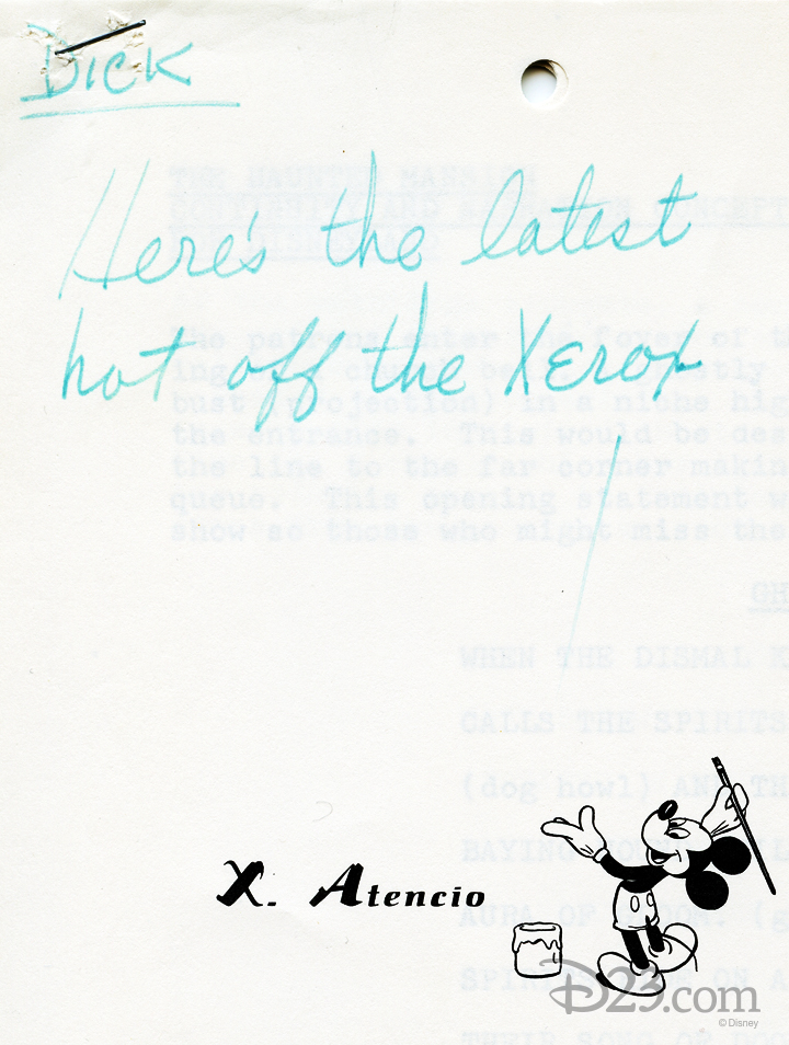 handwritten note from X. Atencio saying Here's the latest hot off the Xerox