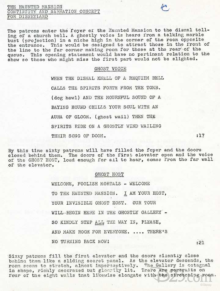 typewritten script of narration and description of The Haunted Mansion attraction action
