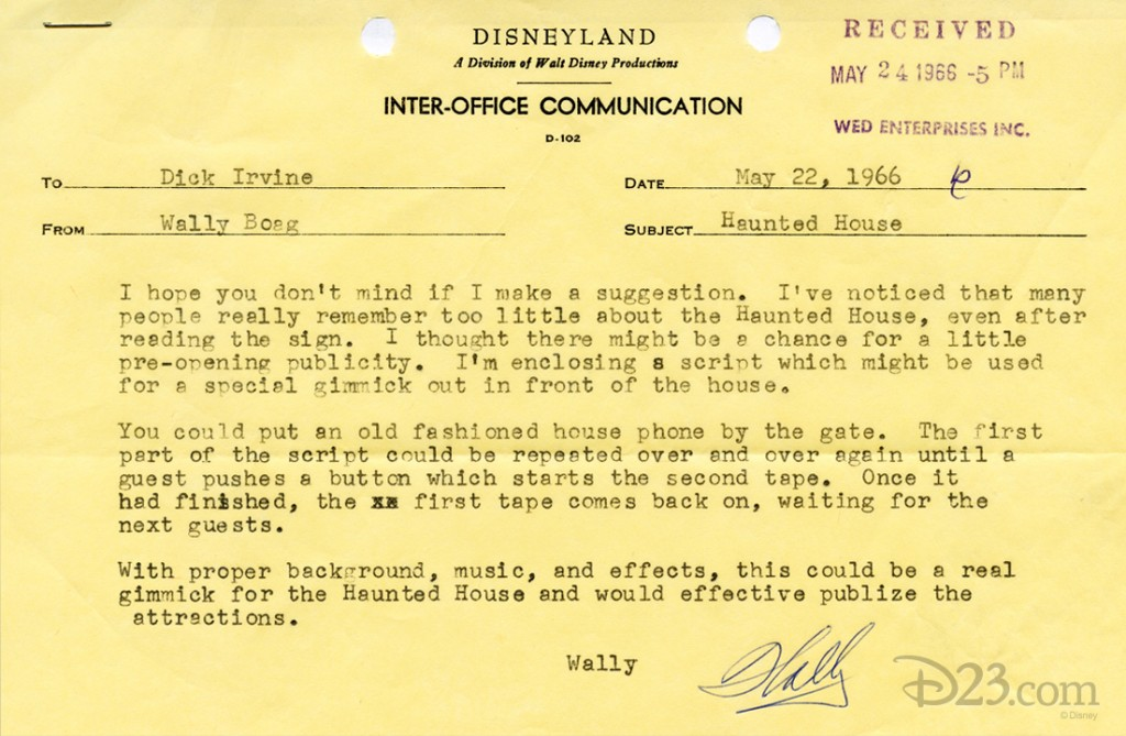 typewritten memo from Wally Boag to Dick Irvine dated 22 May 1966 suggesting a special gimmick be added to outside of Haunted Mansion attraction in Disneyland