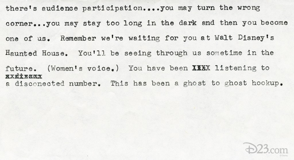 typewritten script continues ghost speaking over phone from inside Haunted Mansion