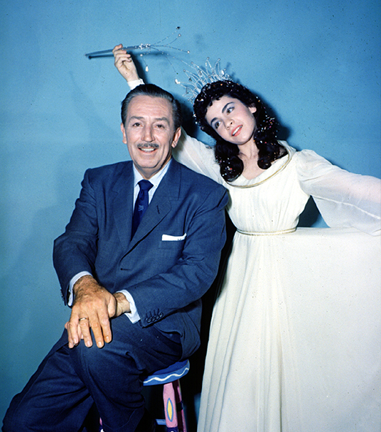 formal portrait photo of Walt Disney and Annette Funicello