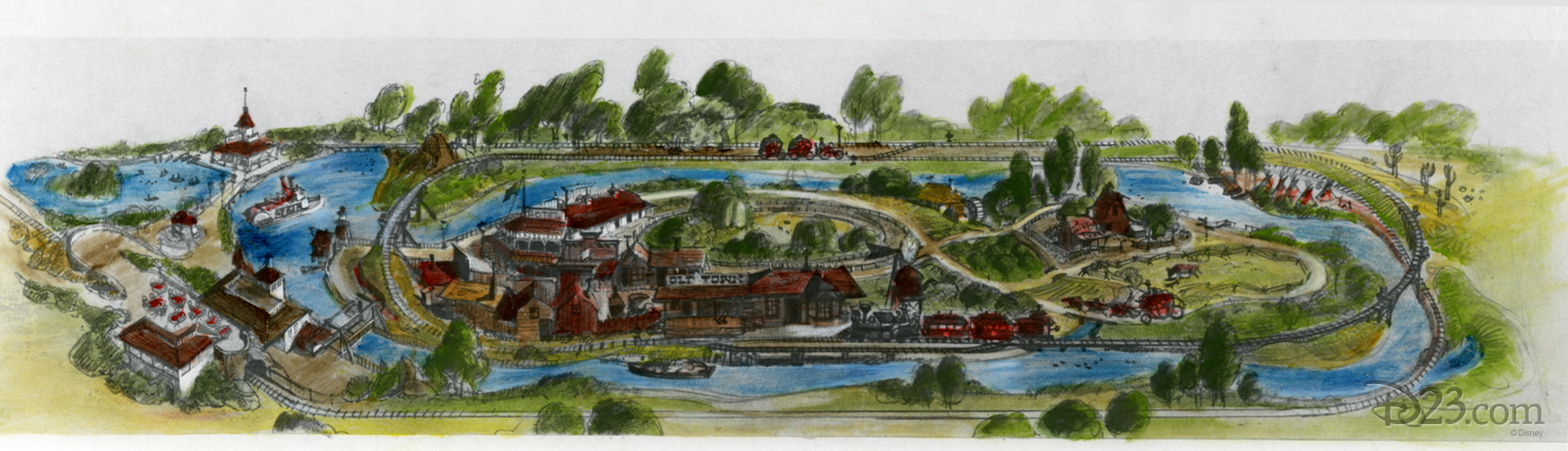 Concept art for a railroad and Mississippi Steamboat in Disneyland Burbank