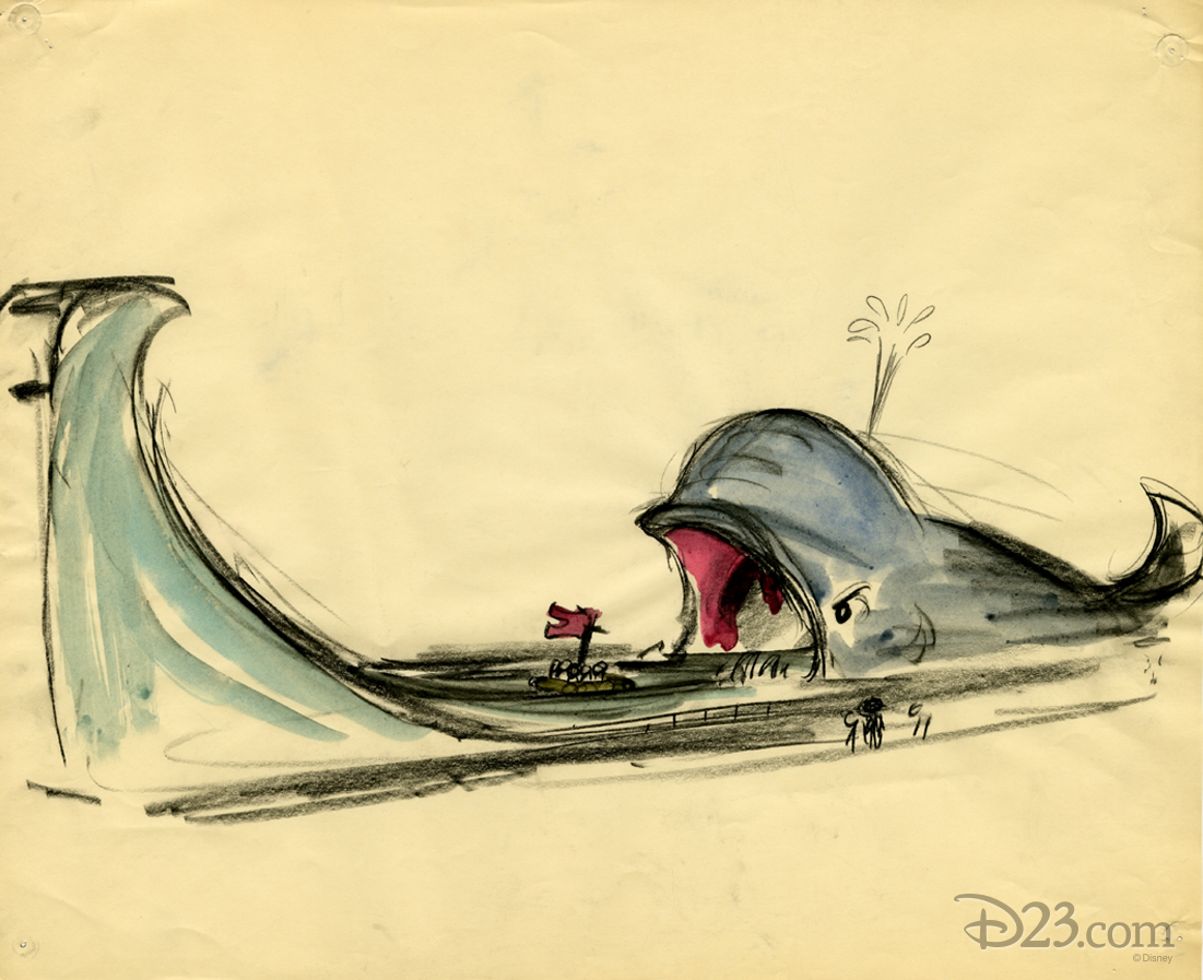 Concept art for ride based on Pinocchio's daring journey in Disneyland Burbank