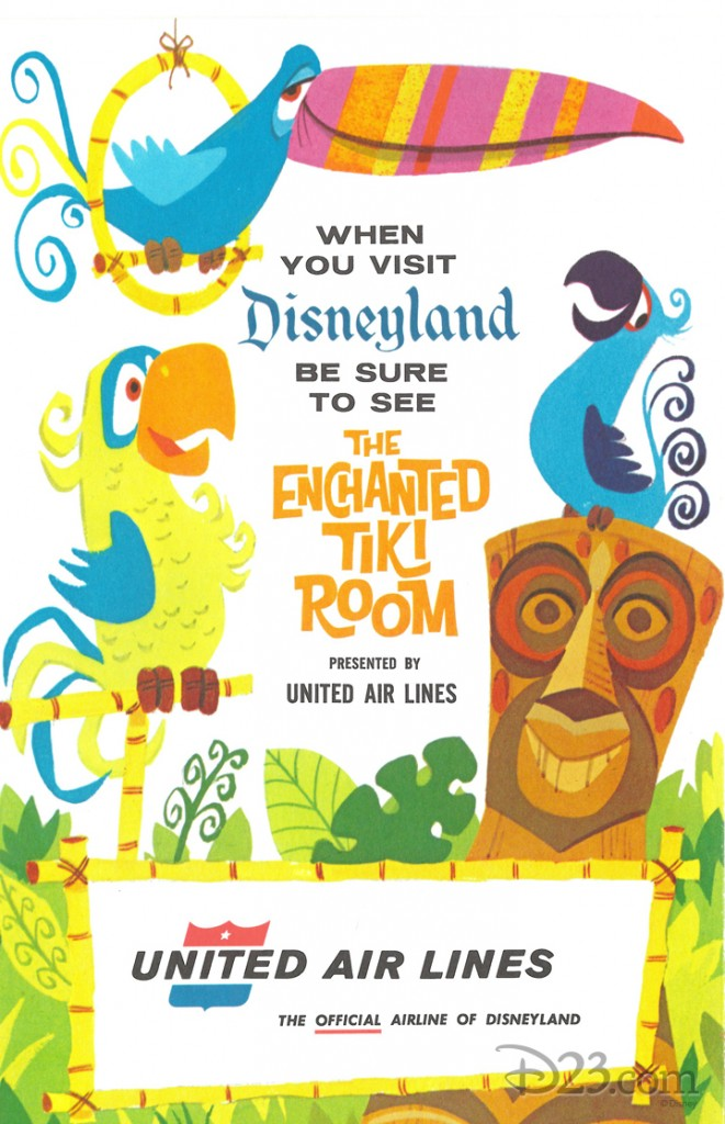 illustrated ad for enchanted tiki room sponsored by United Air Lines