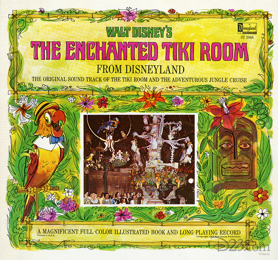 illustrated art of the enchanted tiki room original sound track LP record
