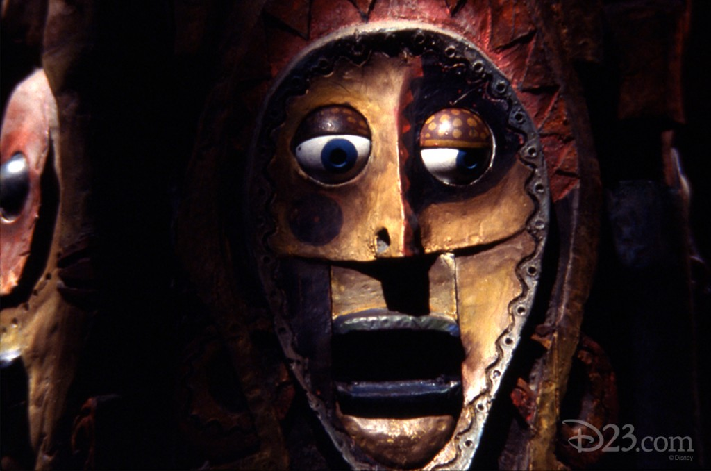 photo of carved wooden face at The Enchanted Tiki Room