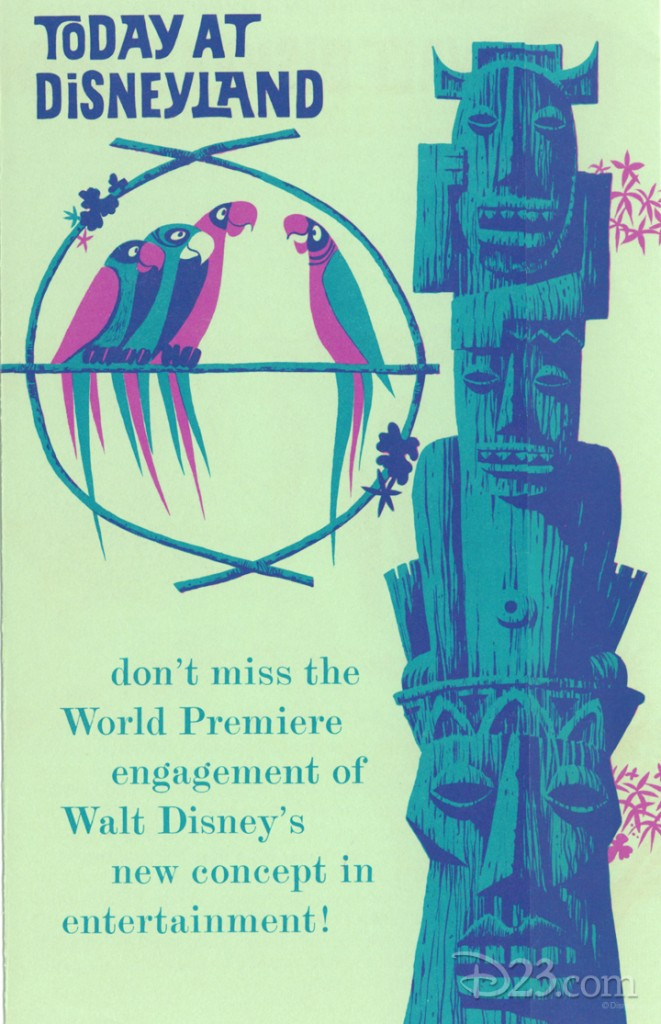illustrated poster for Today at Disneyland announcing the World Premiere engagement of Walt Disney's new concept in entertainment showing birds perched beside a carved multi-headed Tiki god sculpture
