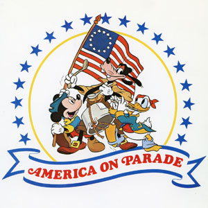 Mickey, Donald and Goofy love a parade as the symbol of America on Parade. Originally created in 1939, this art was inspired by The Spirit of '76, painted by American artist Archibald MacNeal Willard in Wellington, Ohio after, appropriately enough, he saw a parade pass through the town square. That most famous of American paintings was exhibited at the 1876 Centennial Exposition in Philadelphia, while this iconic Mickey Mouse image was widely reproduced during Disney's Bicentennial celebration.