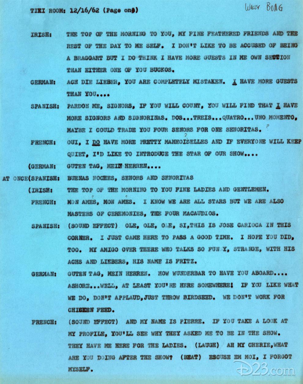 An Early Script for Walt Disney's Enchanted Tiki Room - D23
