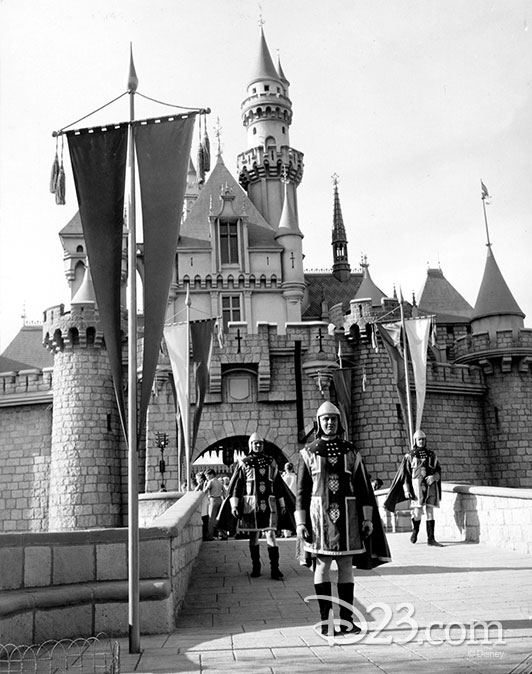 Knights standing in front of the Sleeping Beauty Castle