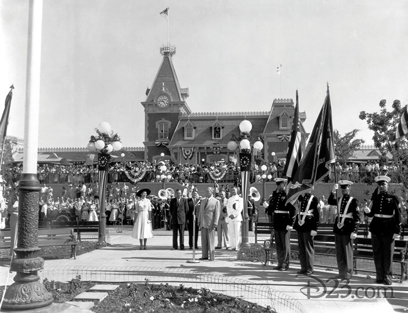 Governor Knight speaking in front of Disneyland Park Opening Day crowds