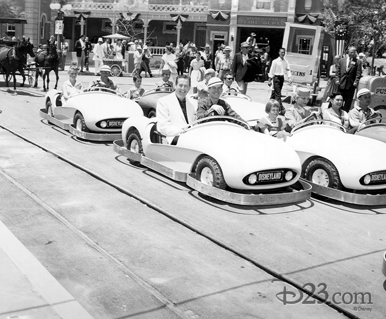 Imagineer Bob Gurr and actor Don DeFore in an Autopia attraction