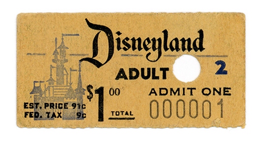 Disneyland ticket No. 1 purchased by Roy O. Disney
