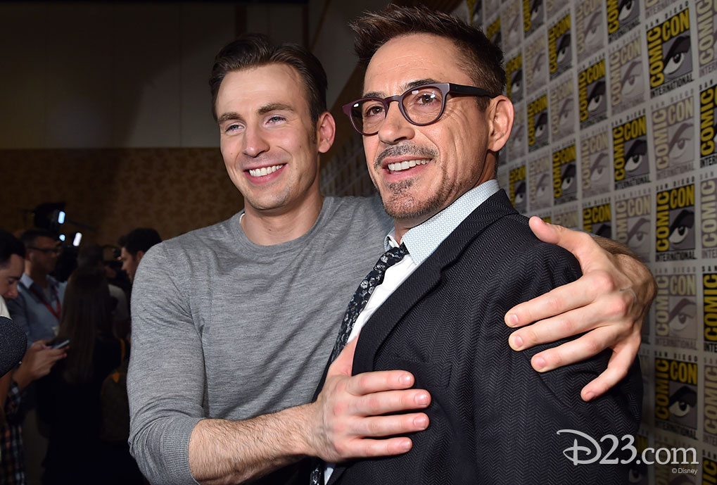 Chris Evans and Robert Downey, Jr. at Comic Con