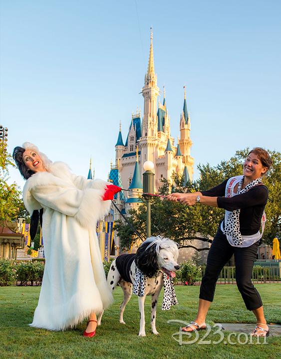 Disney Villain Cruella De Vil jokes around with Florida resident Yvonne Marchione and her dalmatian Lucy.