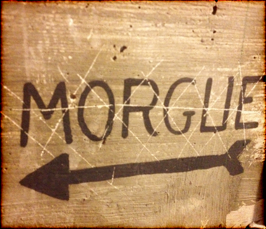 Signage for the morgue, used by Walt Disney Studios to store research and artwork in the hope it would inspire future artists