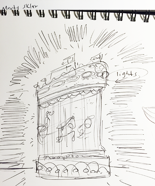Sketch of light up float in Spectromagic parade