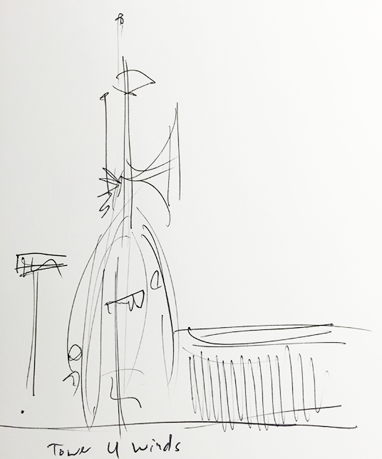 Sketch of Tower of the Four Winds designed by Rolly Crump