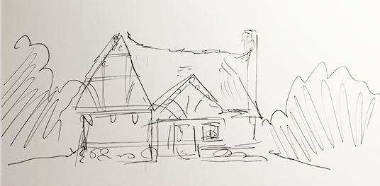 D23 Member sketch of Exterior of the Dwarfs' house from the Seven Dwarfs Mine Train ride.