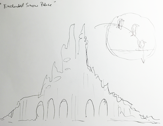 D23 Member Patrick Johnson sketch of A never-realized themed attraction designed by Marc Davis and loosely based on the story of The Snow Queen