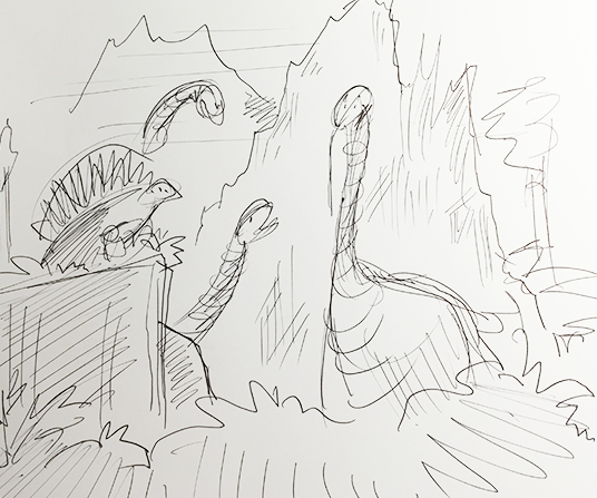 D23 member sketch of Dinosaurs lurking in the swamps of the Ford pavilion at the 1964 World's Fair