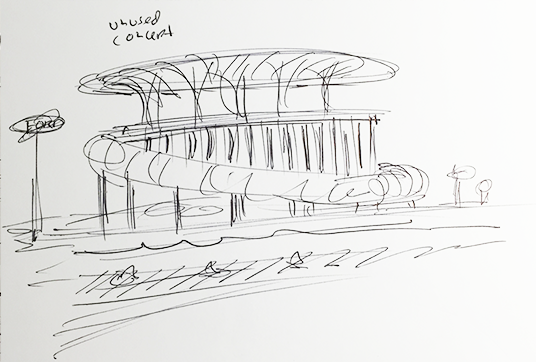 D23 member sketch of unused concepts of pavilions for the 1964 World's Fair