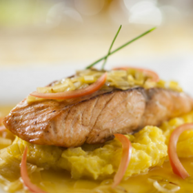 Be Our Guest Restaurant's Salmon with Leek Fondue