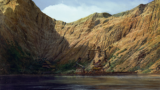 Here is another of the large matte paintings featuring Nemo's caldera-concealed hideout on Vulcania. Both paintings (like the film itself) represent a towering accomplishment in special effects photography, and help to showcase the immense talent that matte painter Ellenshaw was.