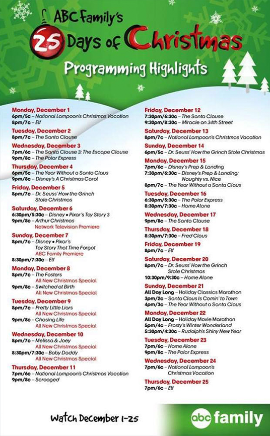 Abc Family Christmas.Tune In To Abc Family S 25 Days Of Christmas Programming