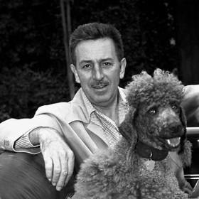 Photo of Walt Elias Disney and Duchess Disney his Standard Poodle