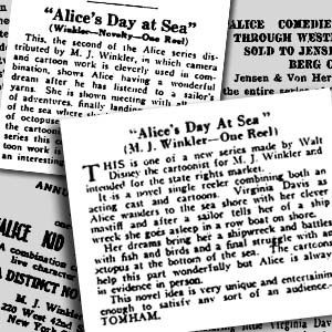 The reviewers loved Alice's Day at Sea. Clockwise from top left: Moving Picture World, May 10, 1924; Independent Exhibitor, December 15, 1924; Motion Picture News, April 26, 1924; early ad, ca. March 1924.