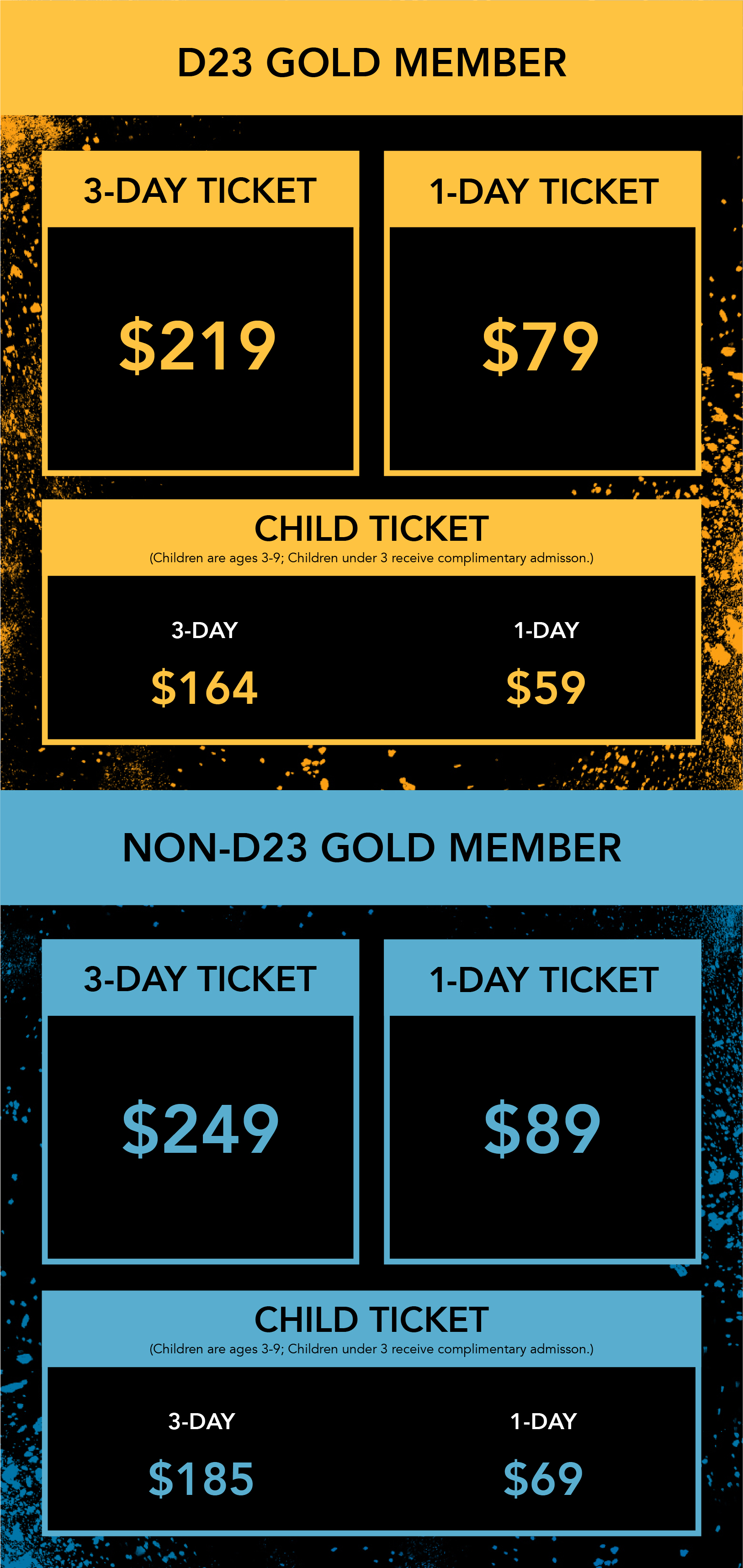 D23 Expo 2019 ticket infographic short no early bird