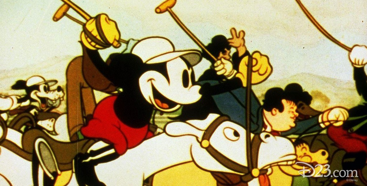 Mickey playing polo in the Disney Film Mickey's Polo Team